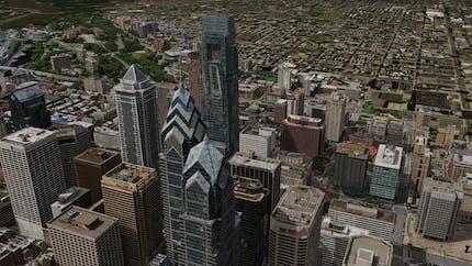 Philadelphia skyline rendered in Cesium