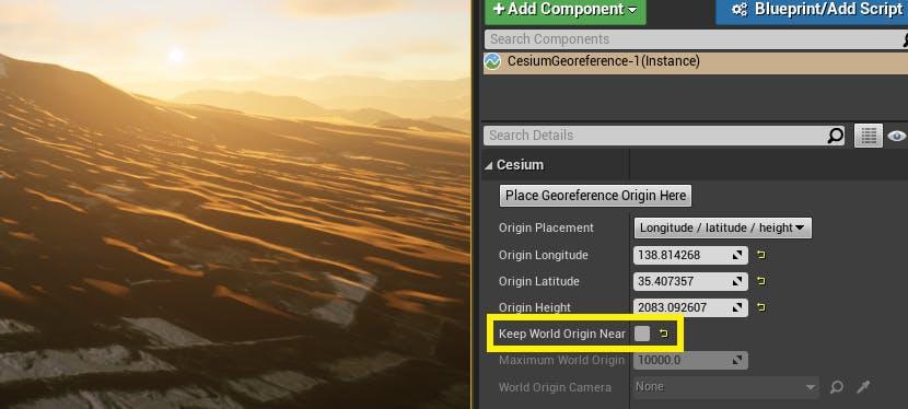UE Editor with Keep World Origin Near control highlighted