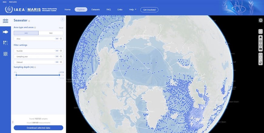 A screenshot of the Maris web site, showing the globe centered on the Artic with blue dots in water to represent locations of seawater samples, and a form for filtering what's displayed.