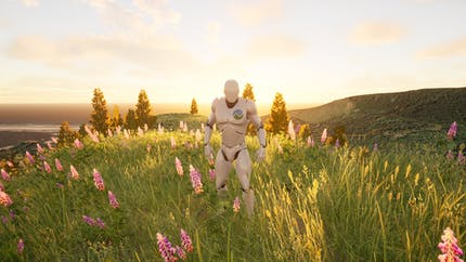The Unreal Mannequin with a Cesium logo on his chest, standing on a hill covered with lupine flowers and the sun setting behind him.