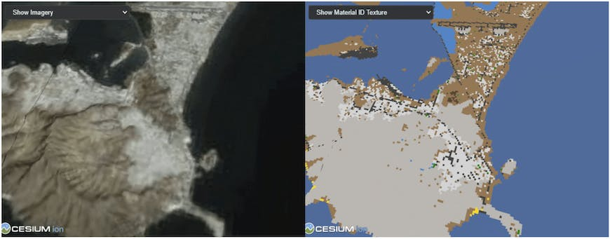 Material ID textures and imagery in 3D Tiles Next