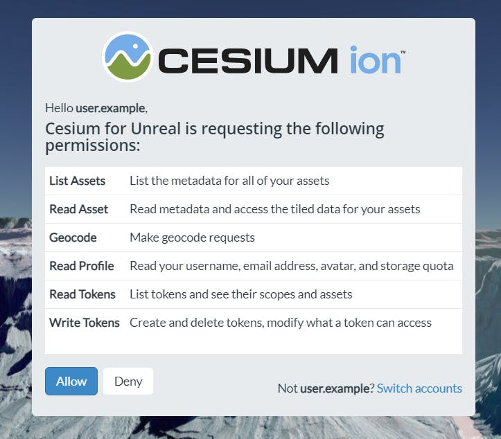 A screenshot of the Cesium for Unreal permissions panel in Unreal Engine
