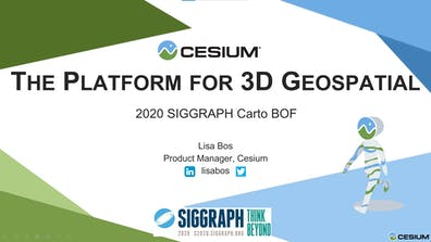 """A presentation deck title slide introducing """"The Platform for 3D Geospatial"""" presented by Lisa Bos, and with an image of the Cesium Man 3D model"""
