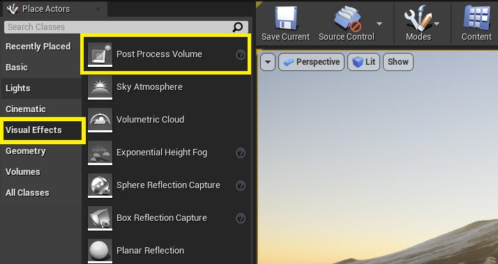 UE Editor Visual Effects tab with Post Process Volume highlighted