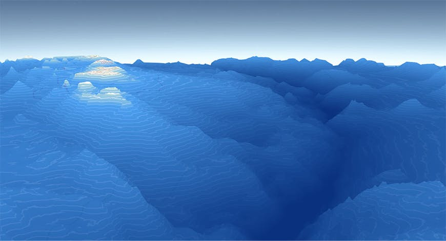 A visualization of the underwater terrain of Mariana Trench