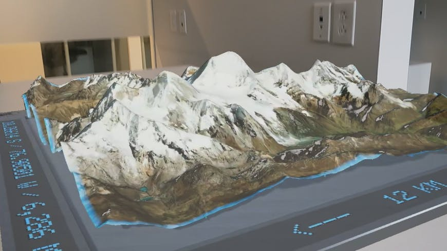 Screenshot from Project Anywhere XR, developed by Cesium, Epic Games, Microsoft, and NVIDIA for HoloLens 2