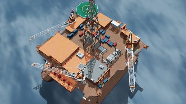 Massive BIM model of an oil rig