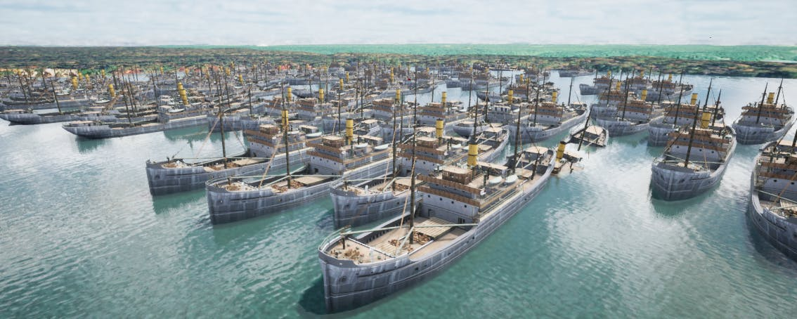 Ships in Mallows Bay visualized in Cesium for Unreal