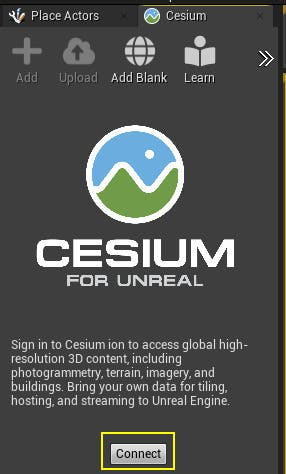 A screenshot of the Cesium for Unreal panel in Unreal Engine