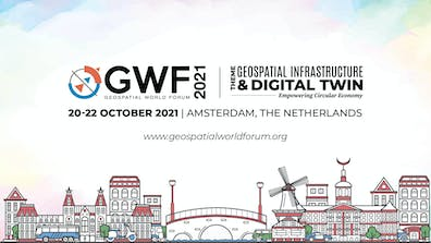 illustrated skyline of Amsterdam with words above: Geospatial World Forum 2021, October 20-22, 2021 Amsterdam, The Netherlands.