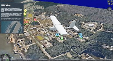 Screenshot of a 3D COP (Common Operating Picture) built on Cesium showing a 3D model of an aircraft flying over real world terrain with annotations and infobox.