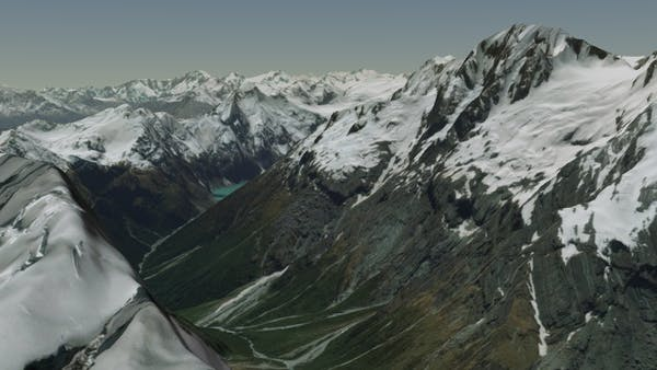 Snow-capped mountains of New Zealand in Cesium World Terrain