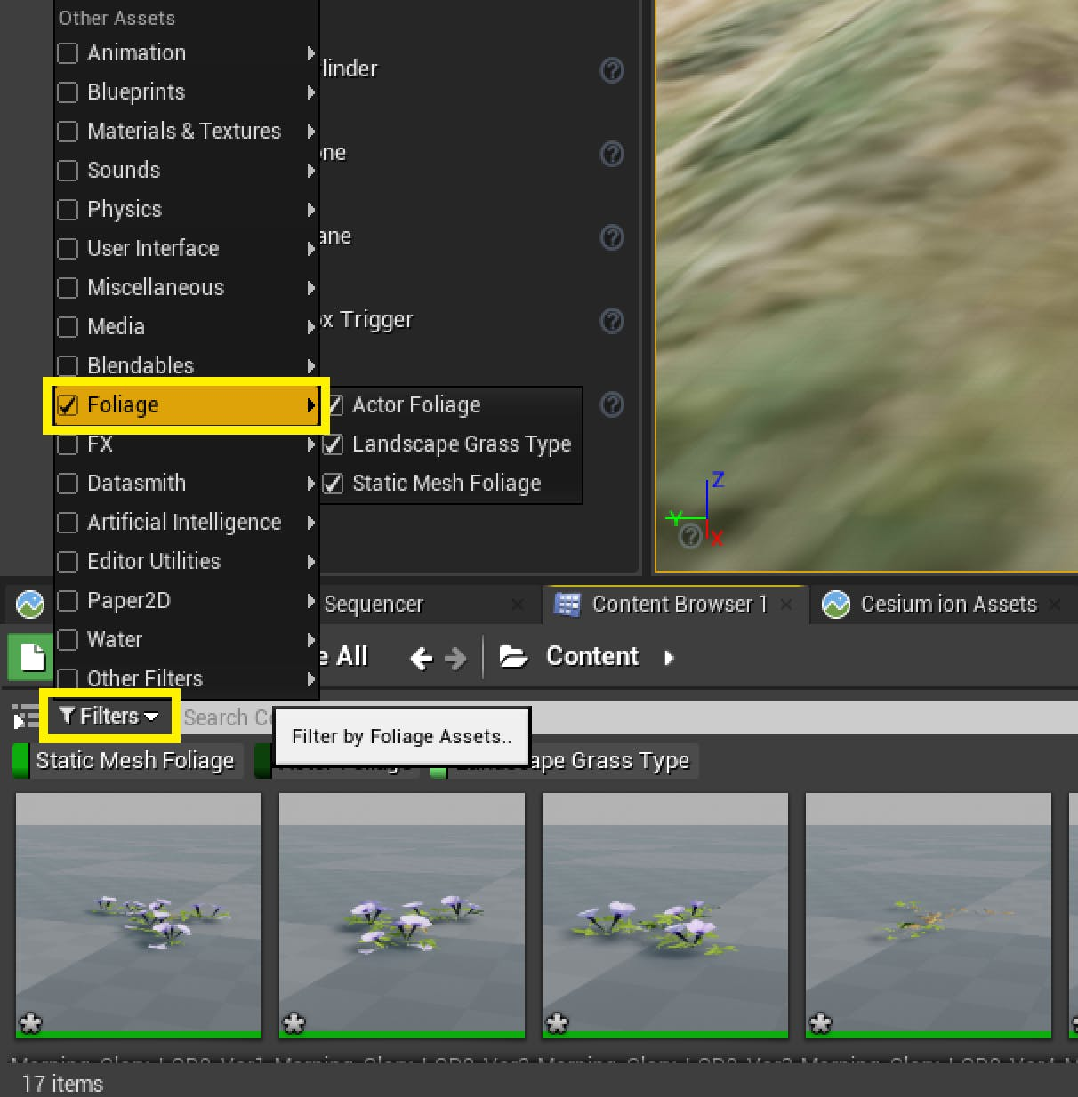 Filtering foliage types in UE Editor
