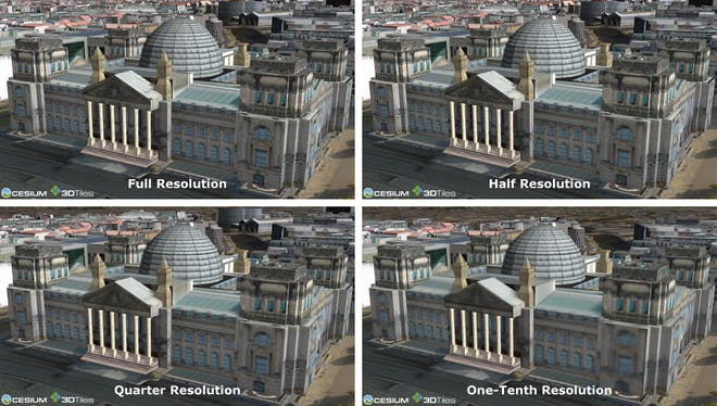 Reichstag building from CityGML dataset of 540,000 textured Berlin buildings, tiled with the best visual quality at all levels of detail.