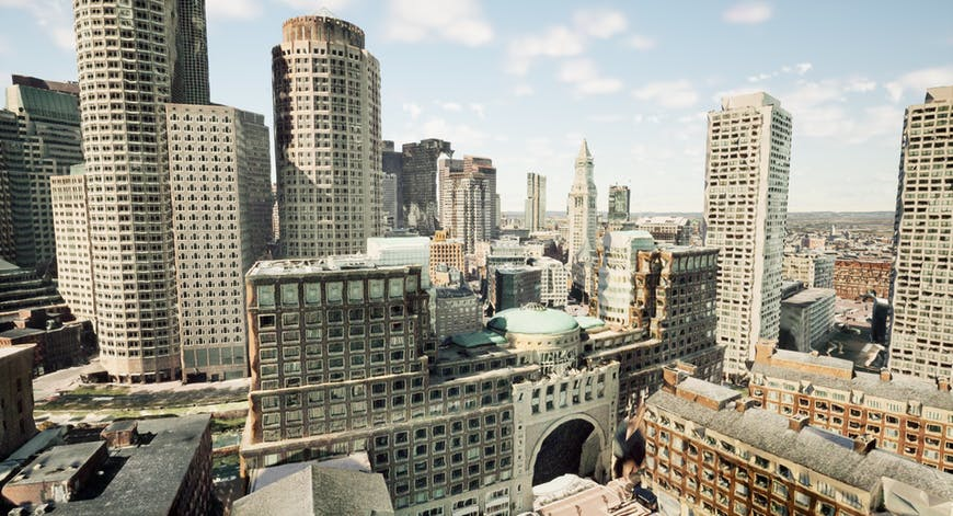 Rowes Wharf, Boston MA, with 3D models created by Nearmap; shown with Cesium for Unreal