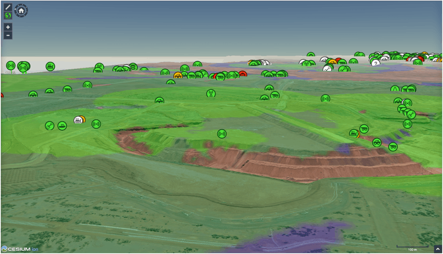 Icons representing mining assets shown on 3D terrain