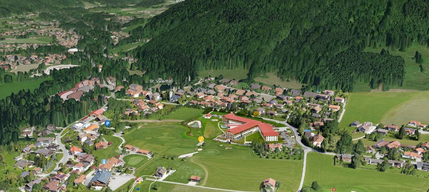 Golf Club Ruhpolding 3D map with photogrammetry model of clubhouse