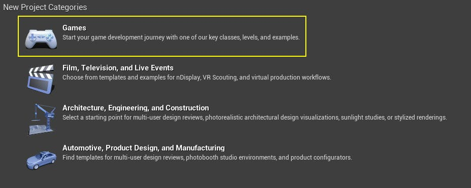 A screenshot of Unreal Engine project categories