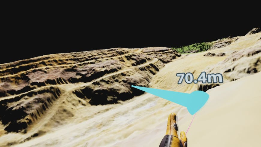 Measuring distance in VR