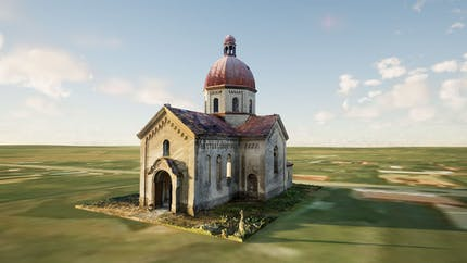 Exterior view of the historic Oleszyce Church in Poland, placed in a green field in Unreal Engine