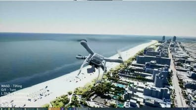 Screenshot of a drone over Miami beach in Cesium for Unreal