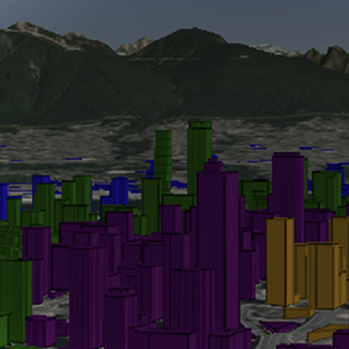The Vancouver skyline with mountains in the background and untextured buildings colored based on distance from a building on the right