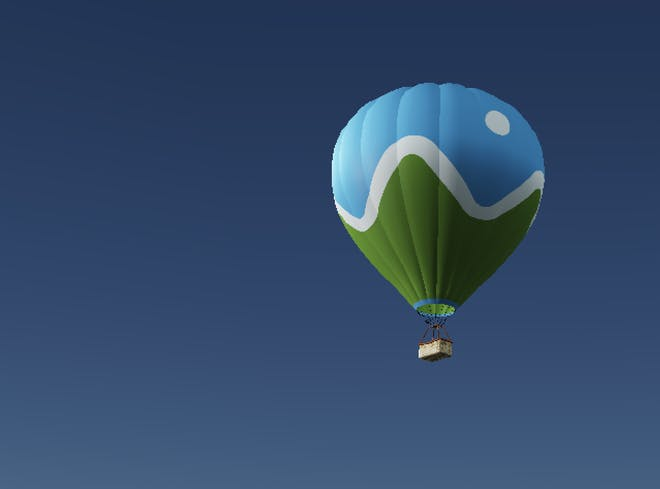 3D model of a Cesium logo branded hot air balloon against a blue sky