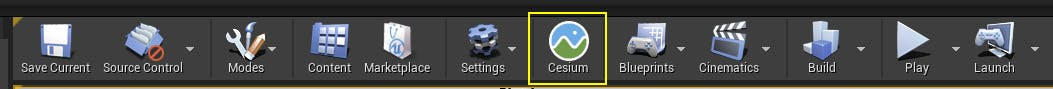 A screenshot showing the Cesium for Unreal icon in the Unreal Engine toolbar
