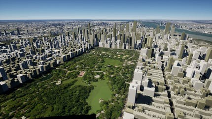 Project Anywhere with Cesium OSM Buildings around Central Park