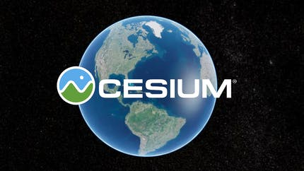 Earth visualized in Cesium with the Cesium circle logo and the word Cesium in white letters.