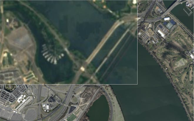 Global Sentinel-2 imagery (top left) combined with higher resolution Washington DC data (bottom).