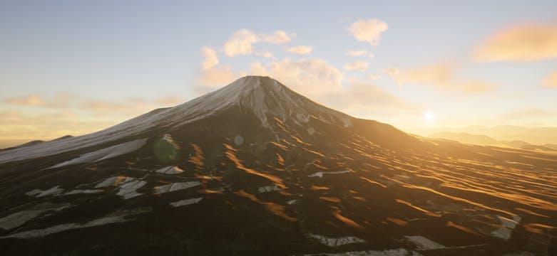Mt Fuji with volumetric clouds behind it