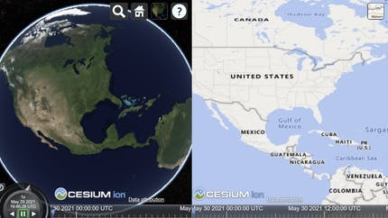 Two views of earth in the left and right panes of CesiumJS, displaying the same location but with different views (the globe with natural imagery and a labeled map view).