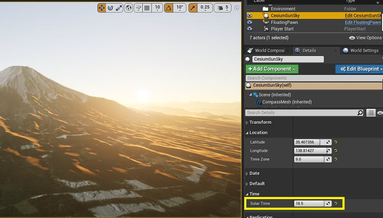 UE Editor Solar Time control for CesiumSunSky