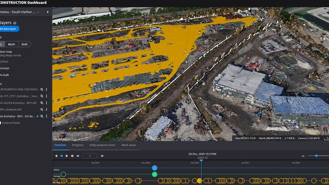 The Smart Construction dashboard, showing point clouds of a construction site on top of a base map