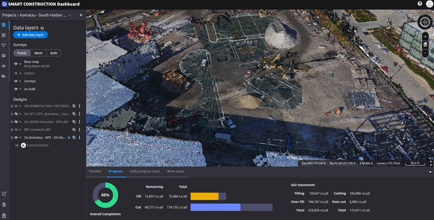 Screenshot of the Smart Construction Dashboard, developed by Cesium and Komatsu