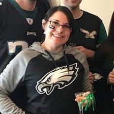 Andie Tursi wearing a Philadelphia Eagles shirt.