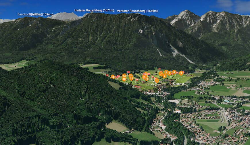 Golf Club Ruhpolding 3D map with surrounding mountains and details about their heights