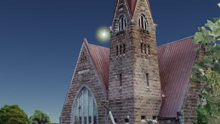 Photogrammetry model of Koivisto parish church in Primorsk, Russia, created with Agisoft Metashape and visualized in Cesium