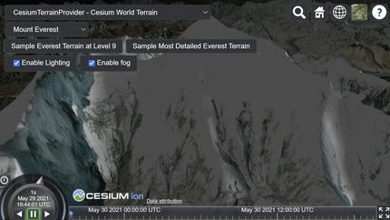 A view of a mountain in CesiumJS using sandcastle, with options for selecting different terrain data and terrain options to display.