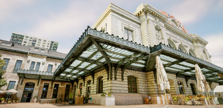 Union Station, Denver Colorado, 3D model created by Aerometrex in Cesium for Unreal