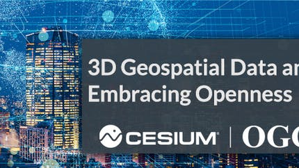 Cover image for Cesium/OGC article that says 3D Geospatial Data and Embracing Openness with a cityscape at night behind the text