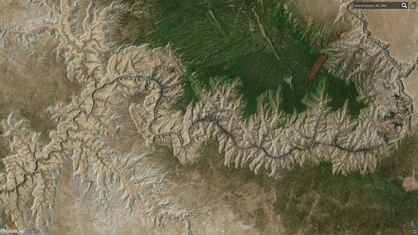 Satellite imagery of the Grand Canyon in Arizona
