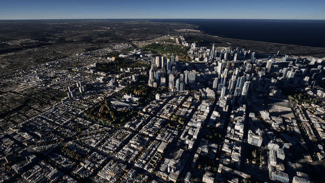 Aerial view of a real-world cityscape in Cesium for Unreal