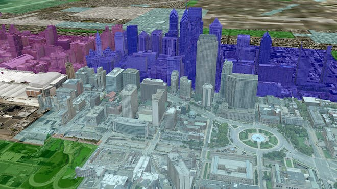 3D model of center city Philadelphia, Pennsylvania in shades of pink, purple, gray, and green.