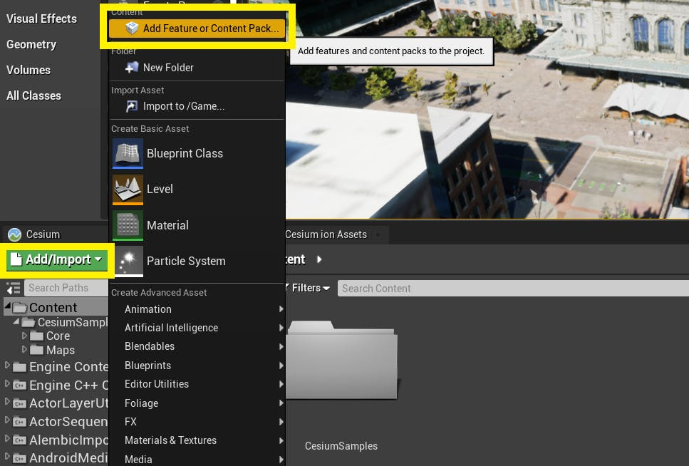 Cesium for Unreal controllers contentBrowserButtons