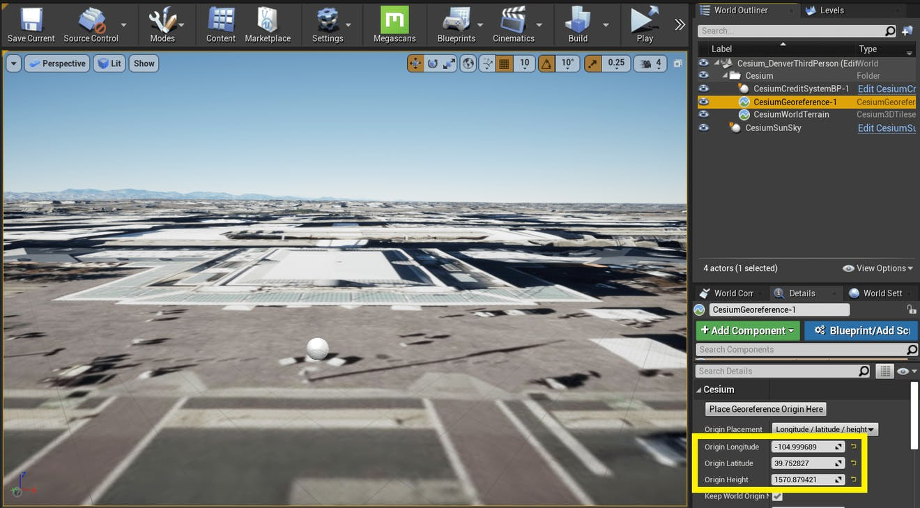 Cesium for Unreal controllers denverGeoreferenceLocation