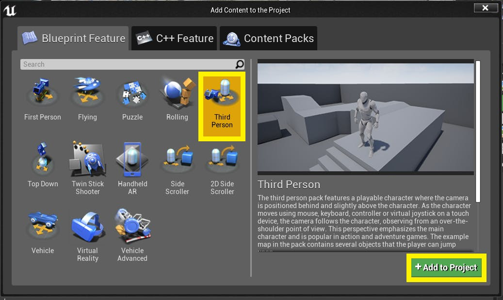Cesium for Unreal controllers importingThirdPerson