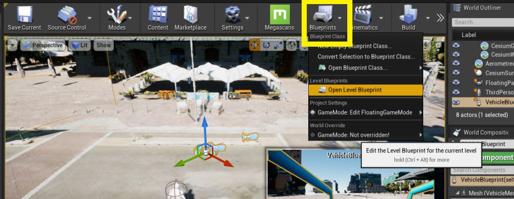 Cesium for Unreal controllers openLevelBlueprint