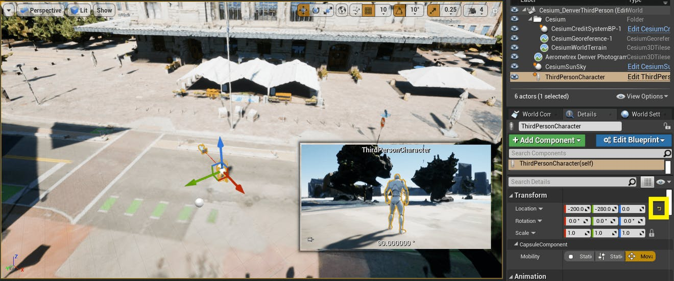 Cesium for Unreal controllers resetTransform